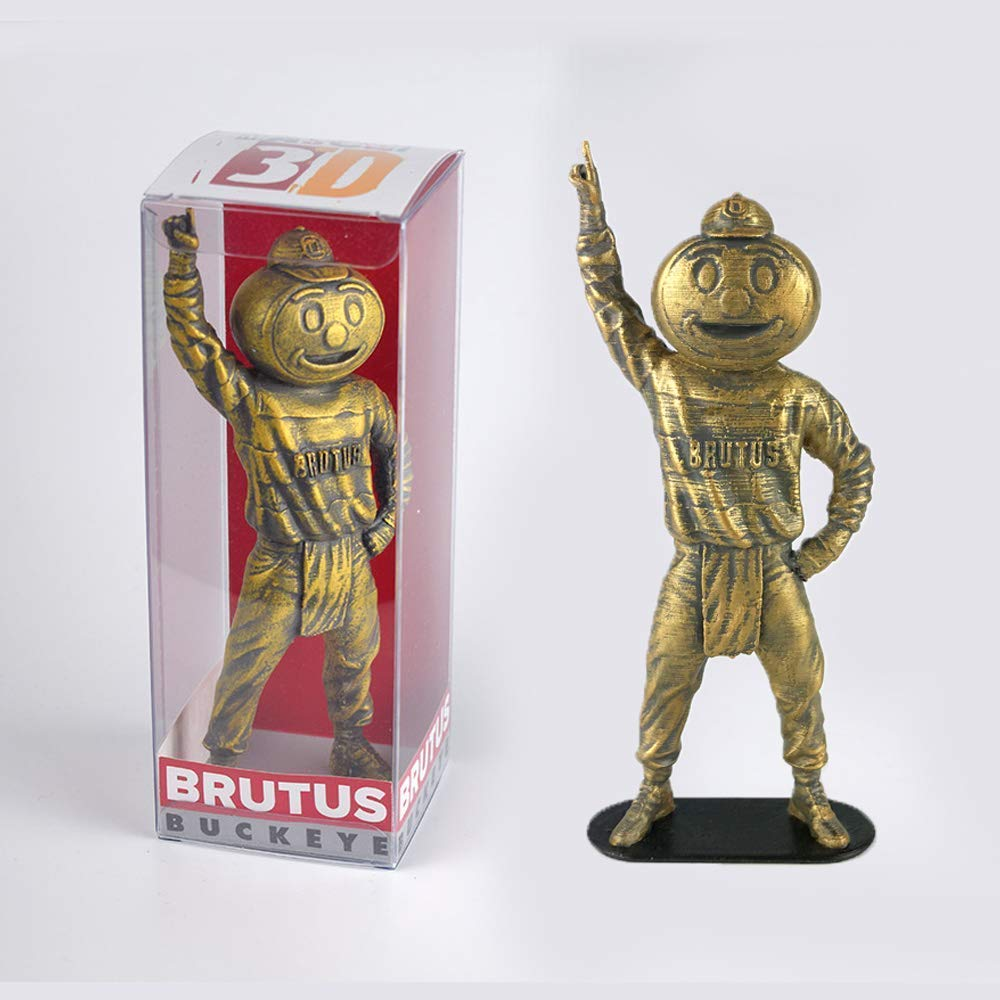 Collectible Brutus the Buckeye Vintage Style Ohio State University Mascot in bronze finish